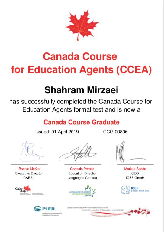 مشاور رسمی اعزام دانشجو به کانادا عضو CCEA، مورد تایید وزارت امور خارجه کانادا